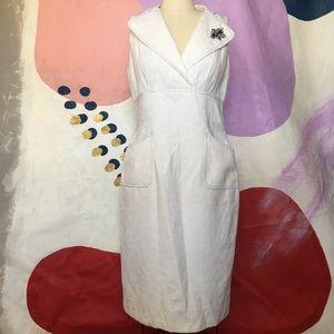 KAY UNGER White Polka Dot Lapel Fitted Midi Dress